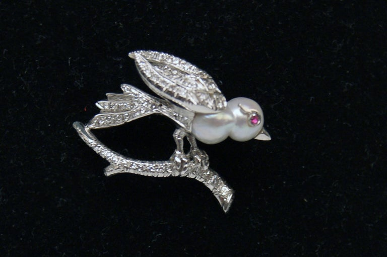Old European Cut Brooch Bird on Bough Gold Diamonds 0.75 Carat Pearl Ruby, Austria, circa 1935 For Sale
