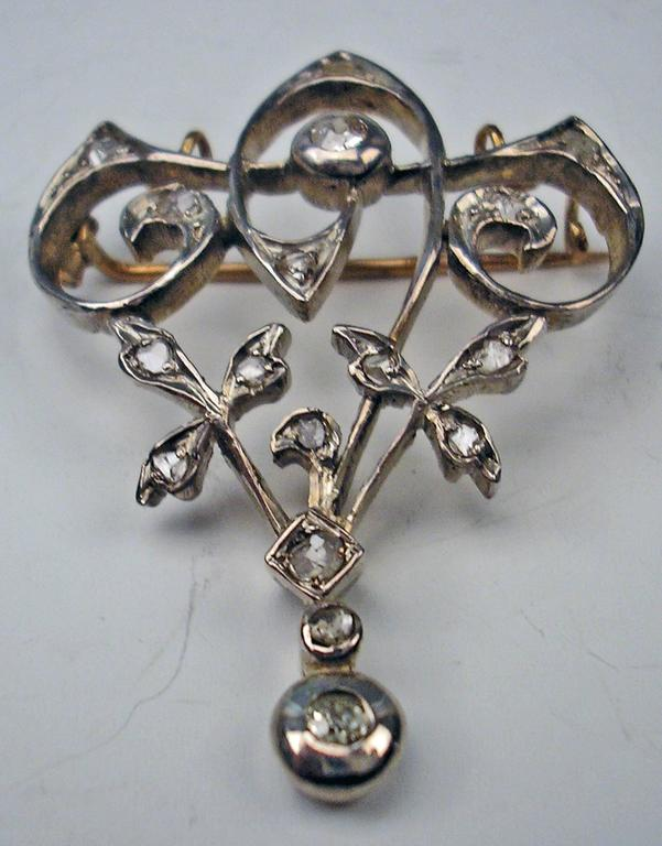 Women's Art Nouveau Diamond Gold Flower Brooch and Pendant  For Sale