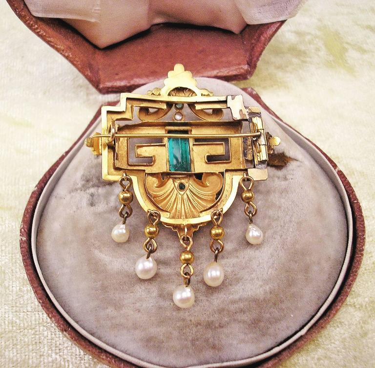 BIEDERMEIER BROOCH GOLD EMERALDS PEARLS IN ORIGINAL CASE AUSTRIA  c.1850 5