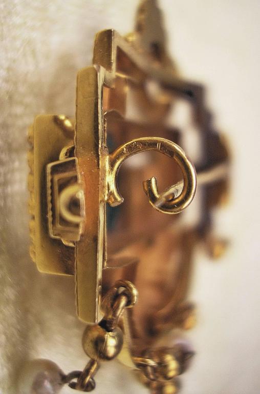 BIEDERMEIER BROOCH GOLD EMERALDS PEARLS IN ORIGINAL CASE AUSTRIA  c.1850 6