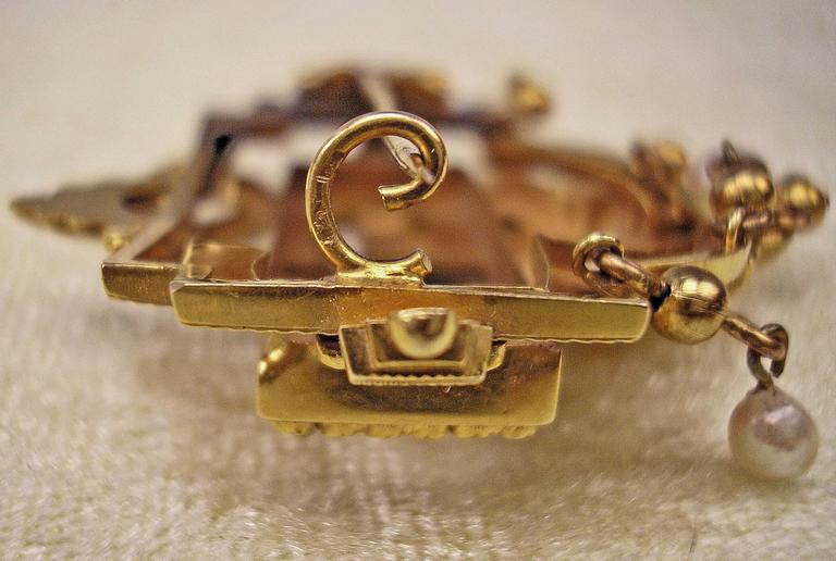 BIEDERMEIER BROOCH GOLD EMERALDS PEARLS IN ORIGINAL CASE AUSTRIA  c.1850 7