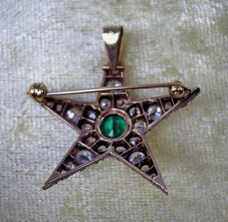 Art Nouveau 1900s PENDANT & BROOCH SHAPED AS STAR GOLD DIAMONDS 4 CARATS INDIGOLITE AUSTRIA  For Sale