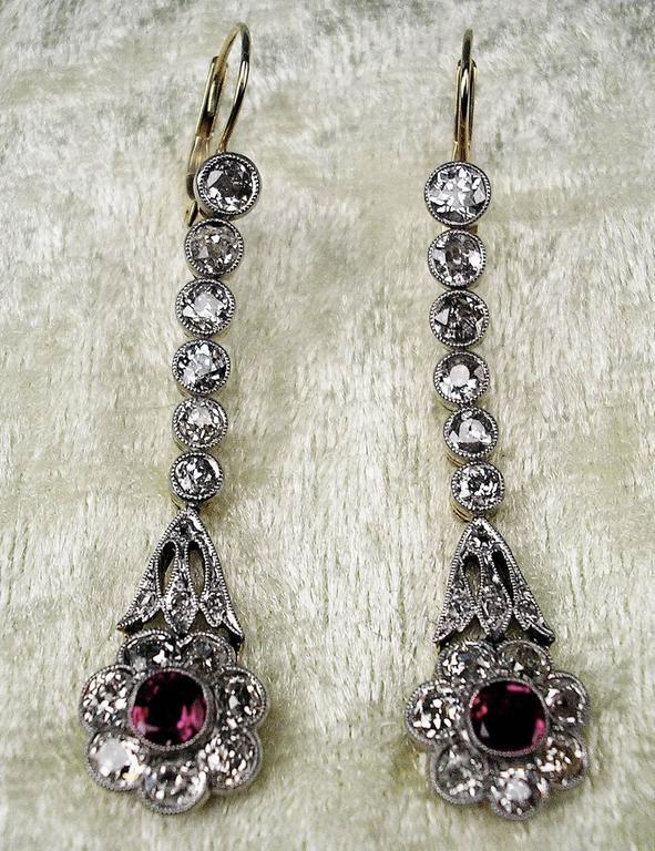 Austrian Art Nouveau Diamond Gold 585 Rubies Eardrops circa 1900 Drop Earrings 5