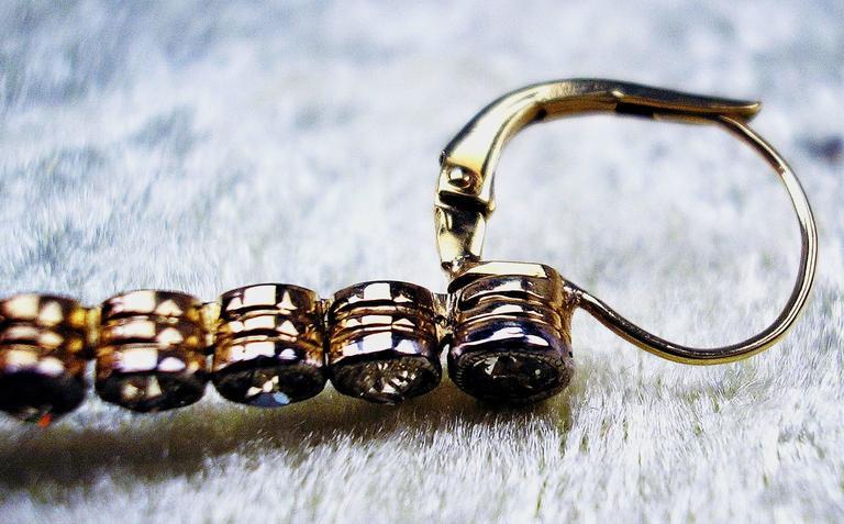 Austrian Art Nouveau Diamond Gold 585 Rubies Eardrops circa 1900 Drop Earrings 6