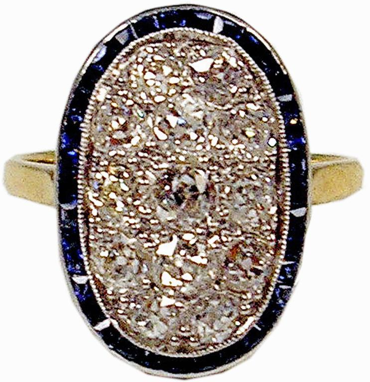 Art Deco 1920s Austria Art Nouveau 2.0 Carats Diamonds Sapphires Gold Ring For Sale