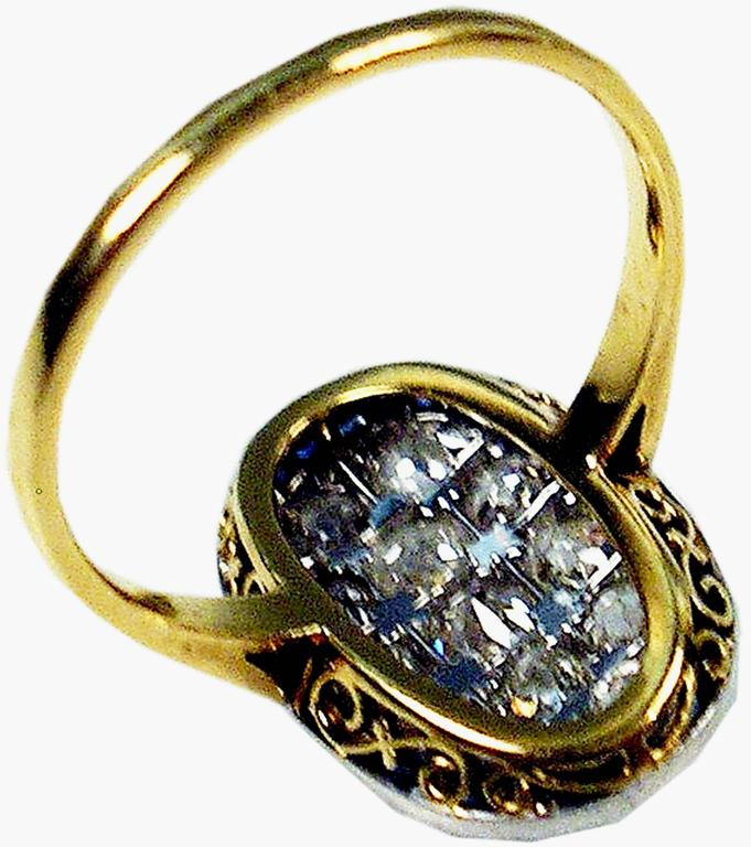 Women's 1920s Austria Art Nouveau 2.0 Carats Diamonds Sapphires Gold Ring For Sale