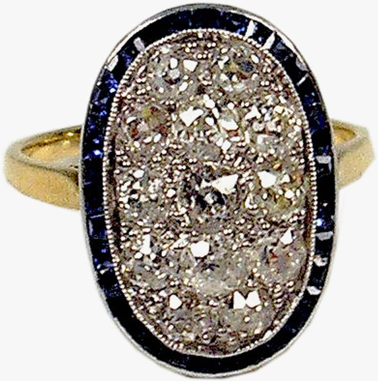 1920s Austria Art Nouveau 2.0 Carats Diamonds Sapphires Gold Ring For Sale 1