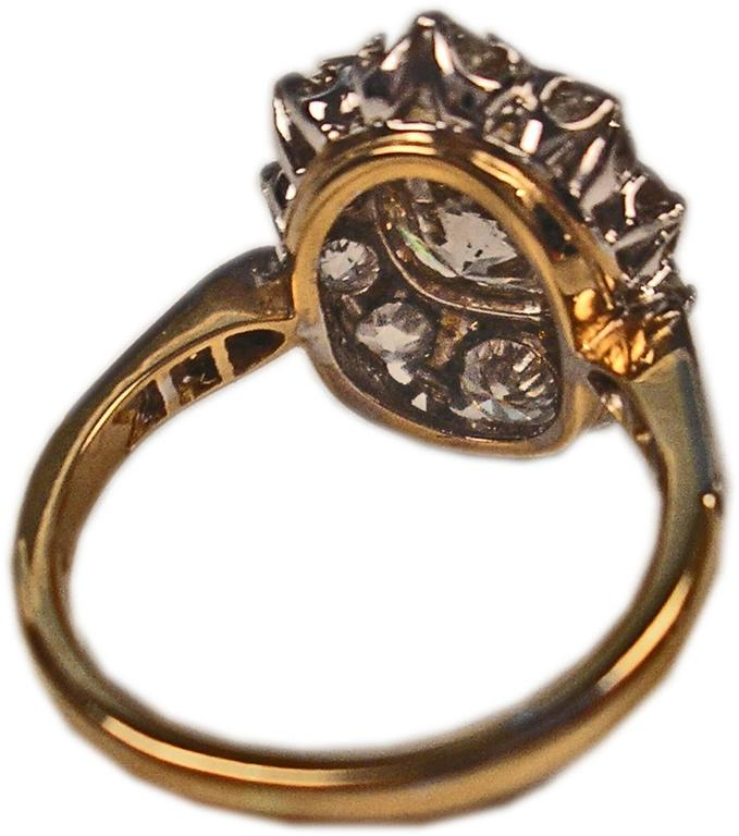 Women's Art Deco Vienna Gold 585 Diamonds Solitaire Cluster Gold Engagement Ring For Sale