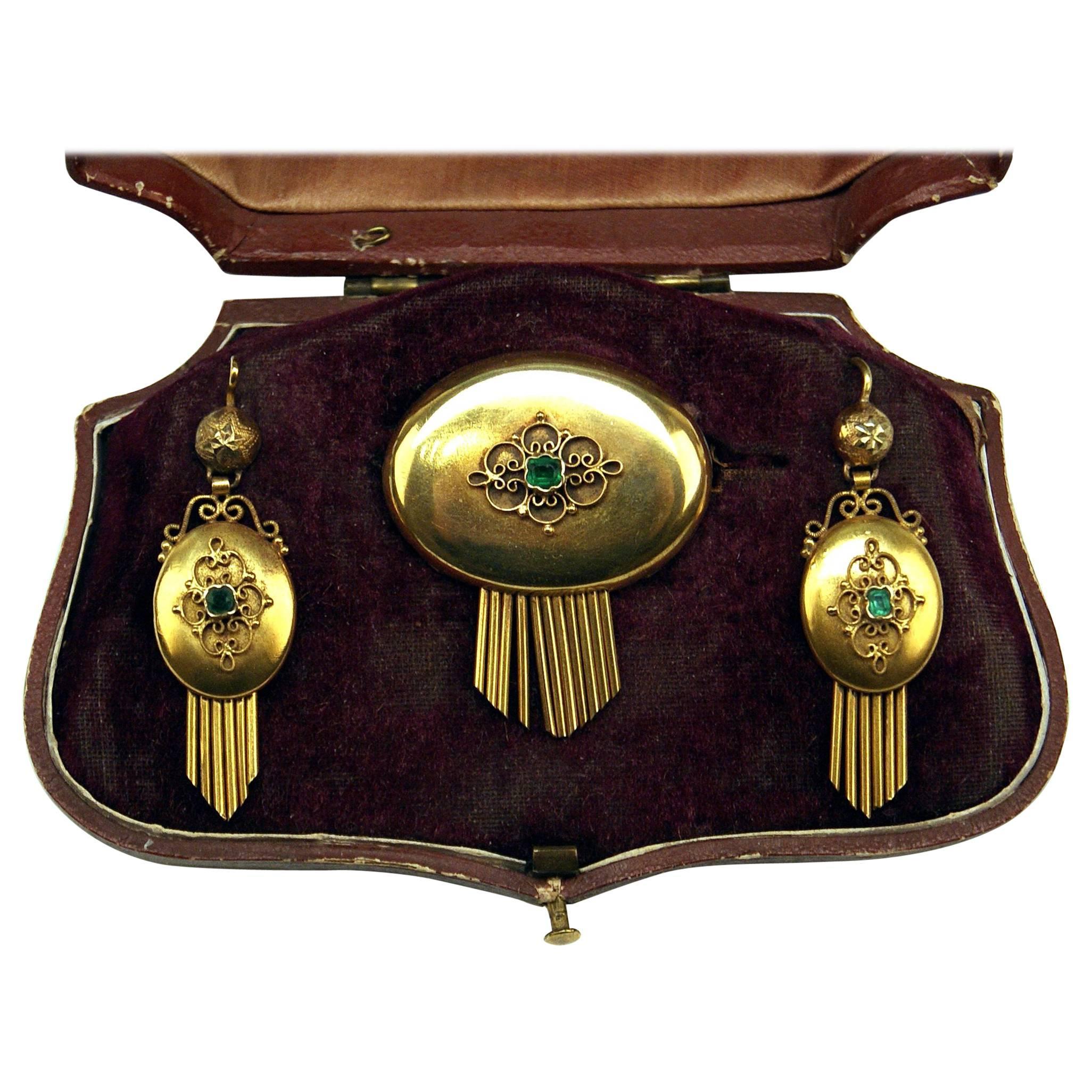 Drop Earring Brooch Jewelry Set 14 Carat Gold Emeralds Vintage, Vienna, Austria