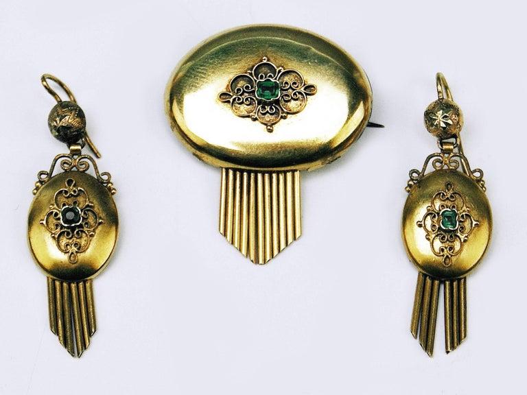 Emerald Cut Drop Earring Brooch Jewelry Set 14 Carat Gold Emeralds Vintage, Vienna, Austria For Sale