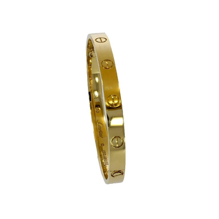 Cartier Yellow Gold Love Bangle Bracelet No Screwdriver In Excellent Condition For Sale In Epsom, Surrey