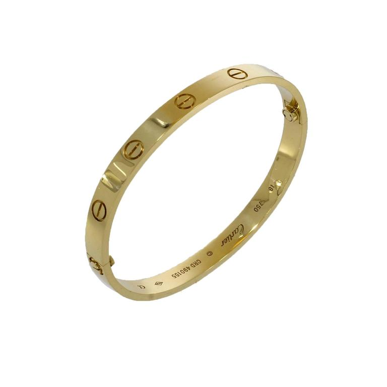 Women's or Men's Cartier Yellow Gold Love Bangle Bracelet No Screwdriver For Sale