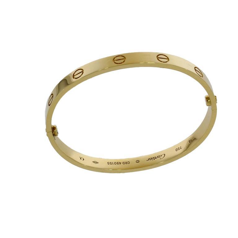 Cartier Yellow Gold Love Bangle Bracelet No Screwdriver For Sale 1