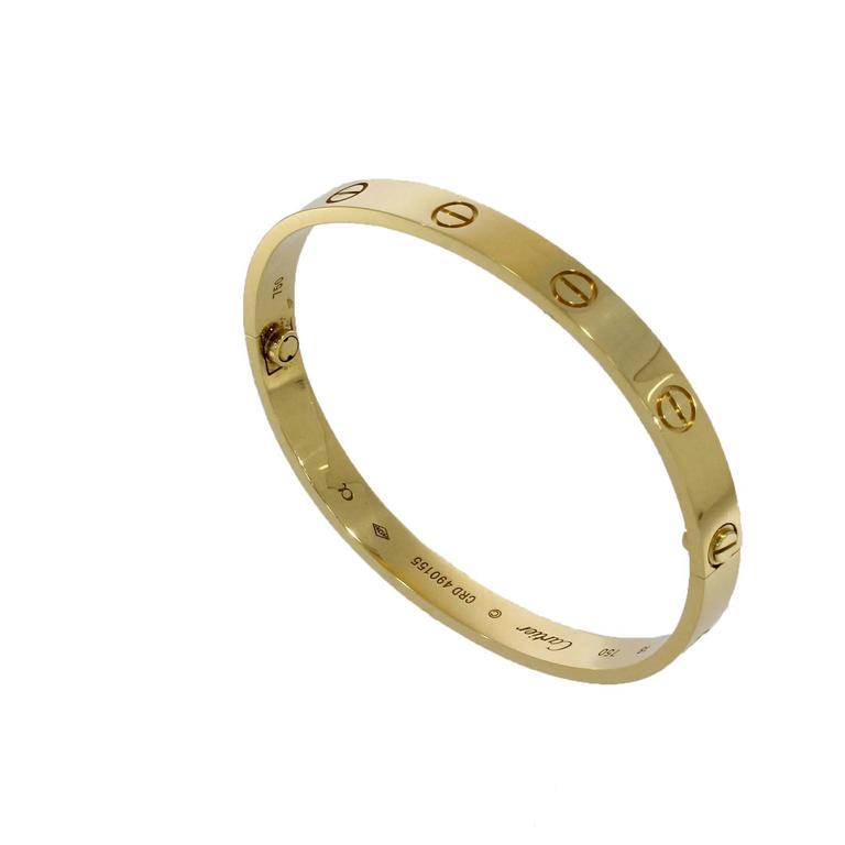 Cartier Yellow Gold Love Bangle Bracelet No Screwdriver For Sale 2