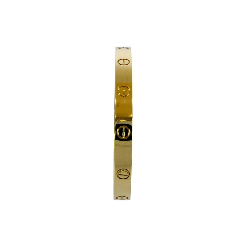 Cartier Yellow Gold Love Bangle Bracelet No Screwdriver For Sale 3