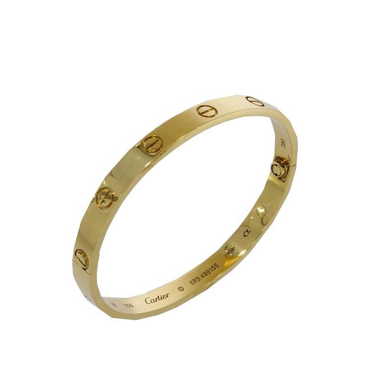 Cartier Yellow Gold Love Bangle Bracelet No Screwdriver For Sale 4