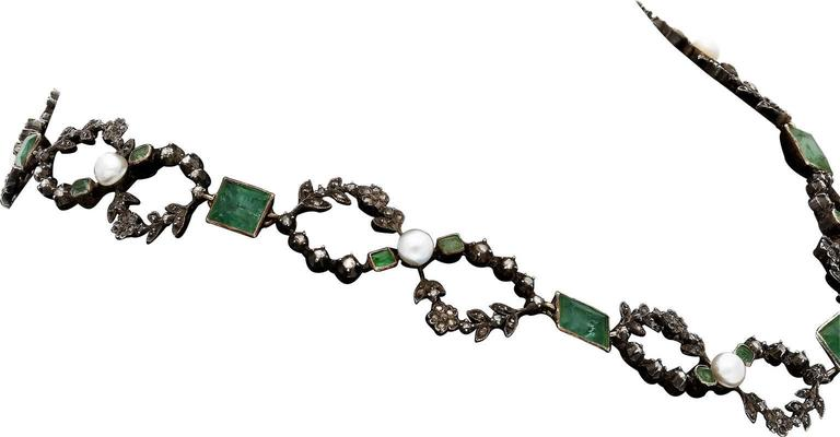 Edwardian Old Mine Emerald Pearl Diamond Platinum Silver Necklace 2