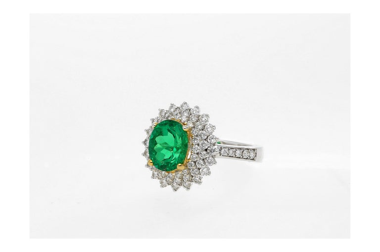 GIA Certified 1.76 carats Emerald-Cut Determined to be of Colombian origin Determined to be of