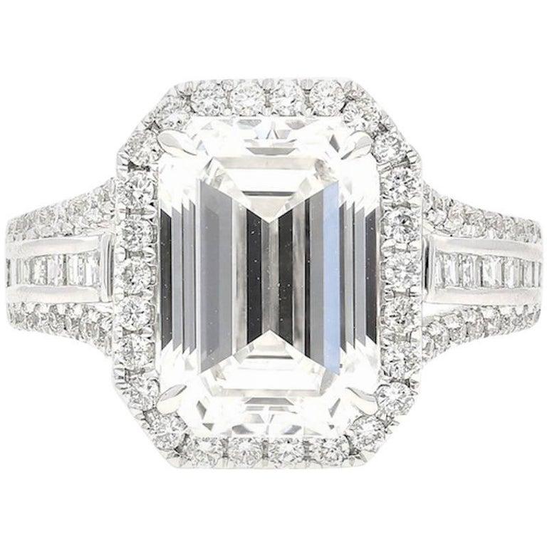 5.09 Carat GIA Certified Emerald Cut Diamond White Gold Ring