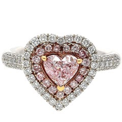 0.74 Carat GIA Certified Heart-Shape Pink Diamond Amour Ring