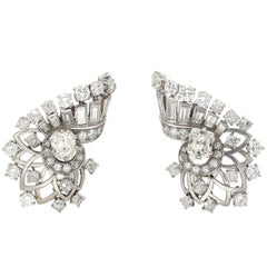"4.00 carat ""Boucheron"" Art Deco Diamond Platinum Earrings"