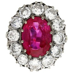 Art Deco AGL Certified 20th Century 5.52 Carat Oval Cut Burma Ruby Diamond Ring