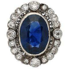 19th Century Victorian-Era 15 Carat Burma Oval-Cut Sapphire Diamond Ring