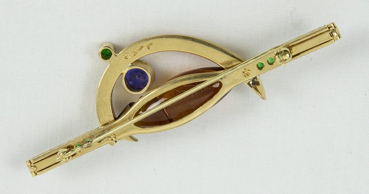 Citrine Tsavorite Garnet Sapphire Somos Munsteiner Gold Brooch Pin For Sale 1