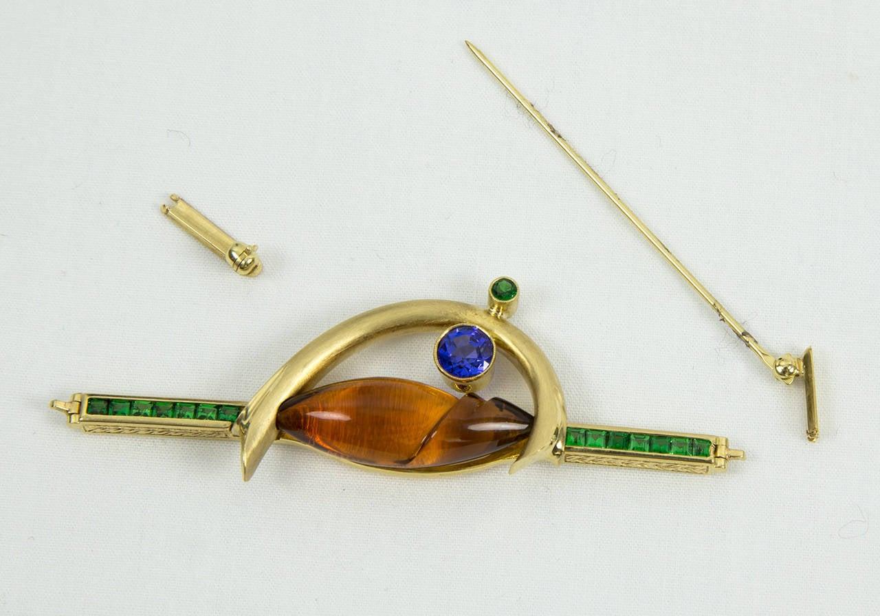 Contemporary Citrine Tsavorite Garnet Sapphire Somos Munsteiner Gold Brooch Pin For Sale