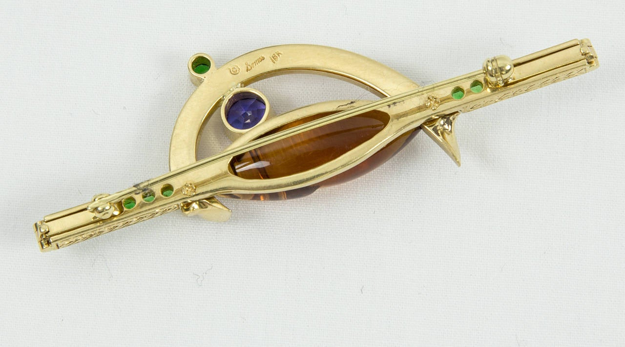 Citrine Tsavorite Garnet Sapphire Somos Munsteiner Gold Brooch Pin In New Condition For Sale In Montreal, QC