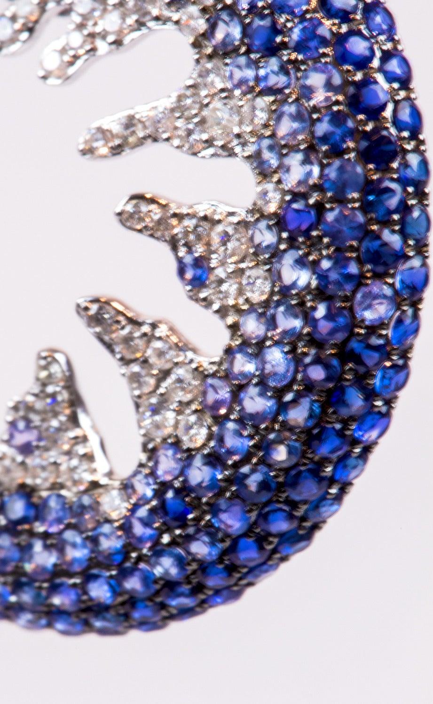 Blue Sapphire Creole-Style Diamond Gold Hoop Earrings 3