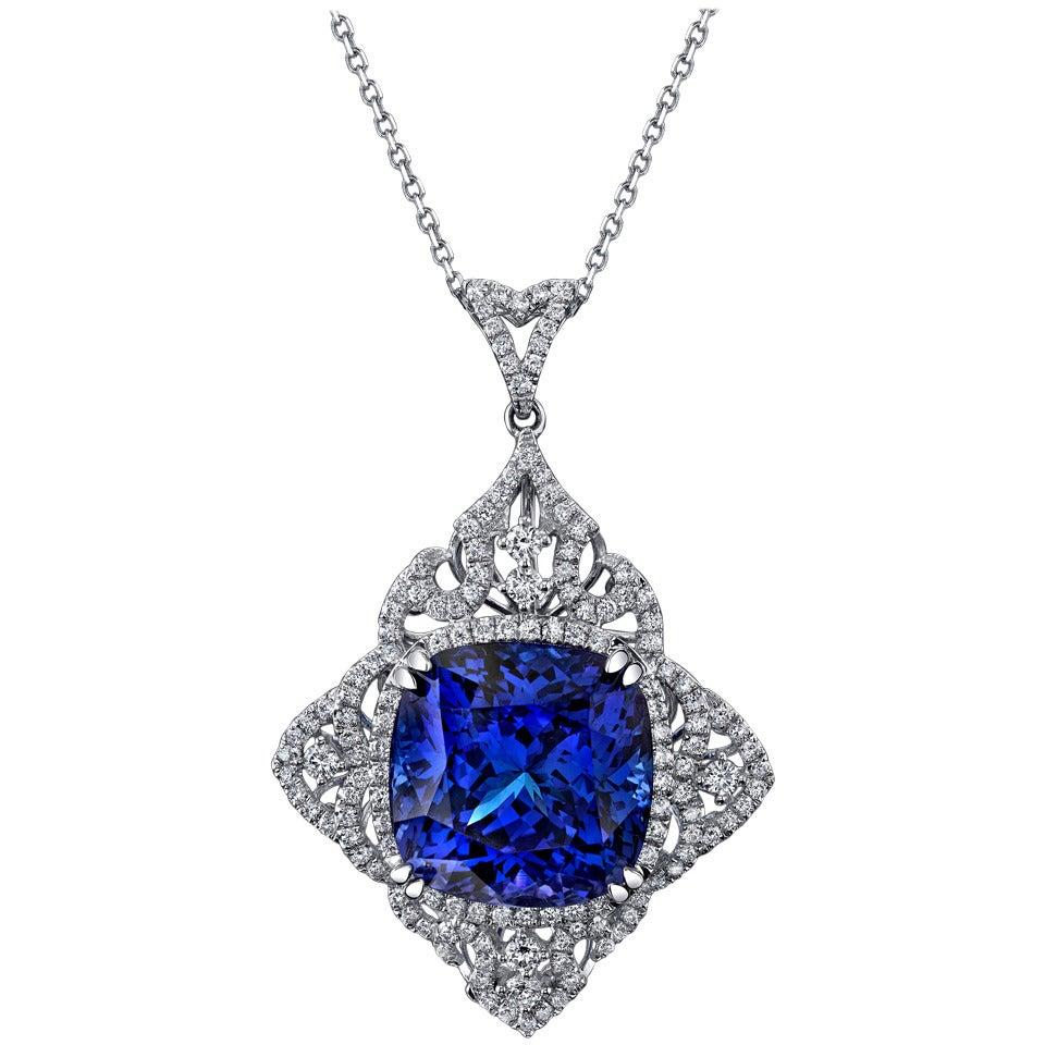 Sensational 29.51 Carat Cushion Cut Tanzanite Diamond Gold Pendant Necklace For Sale