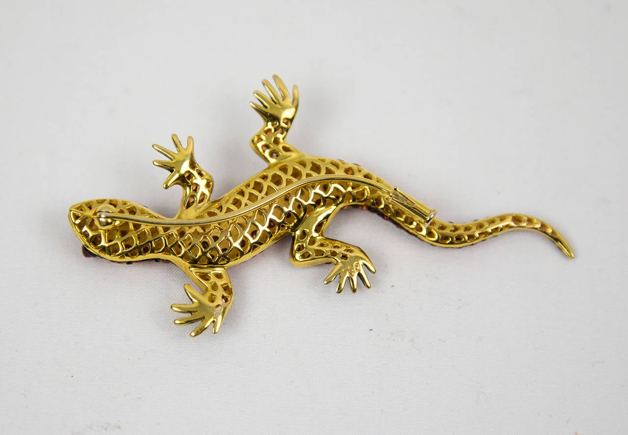 Orange Sapphire Diamond Gecko Lizard Gold Brooch Pin at 1stdibs