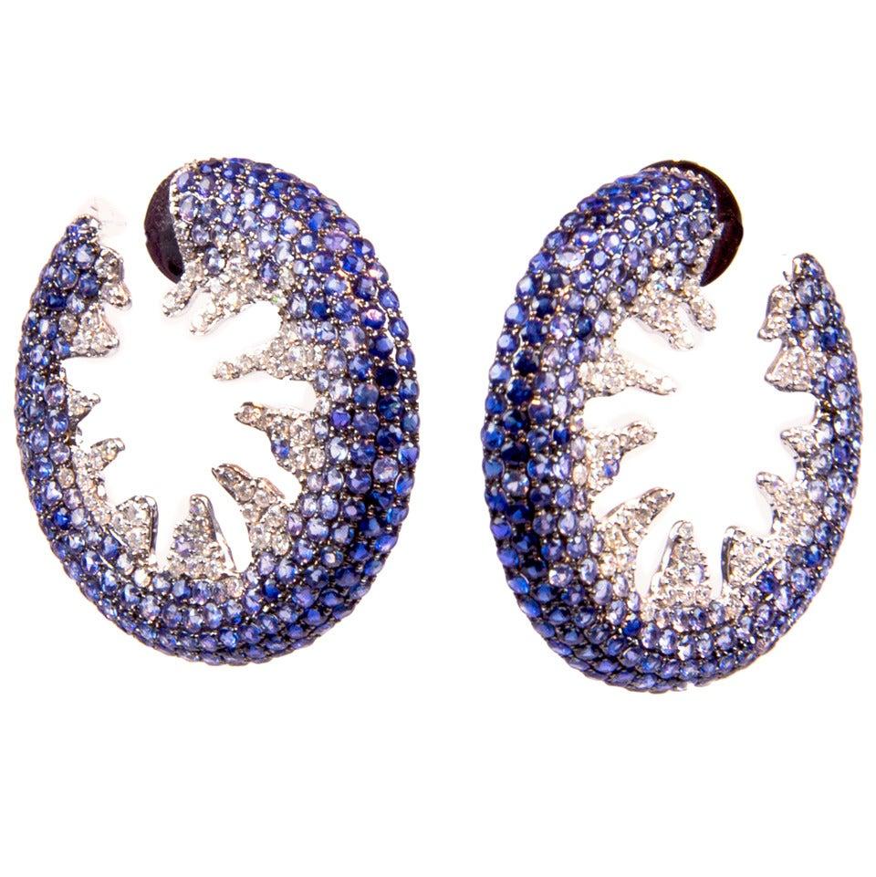 Blue Sapphire Creole-Style Diamond Gold Hoop Earrings 1
