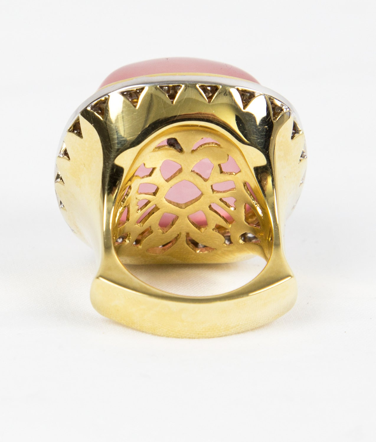 Pink Quartz Sugarloaf Diamond Gold Ring 5