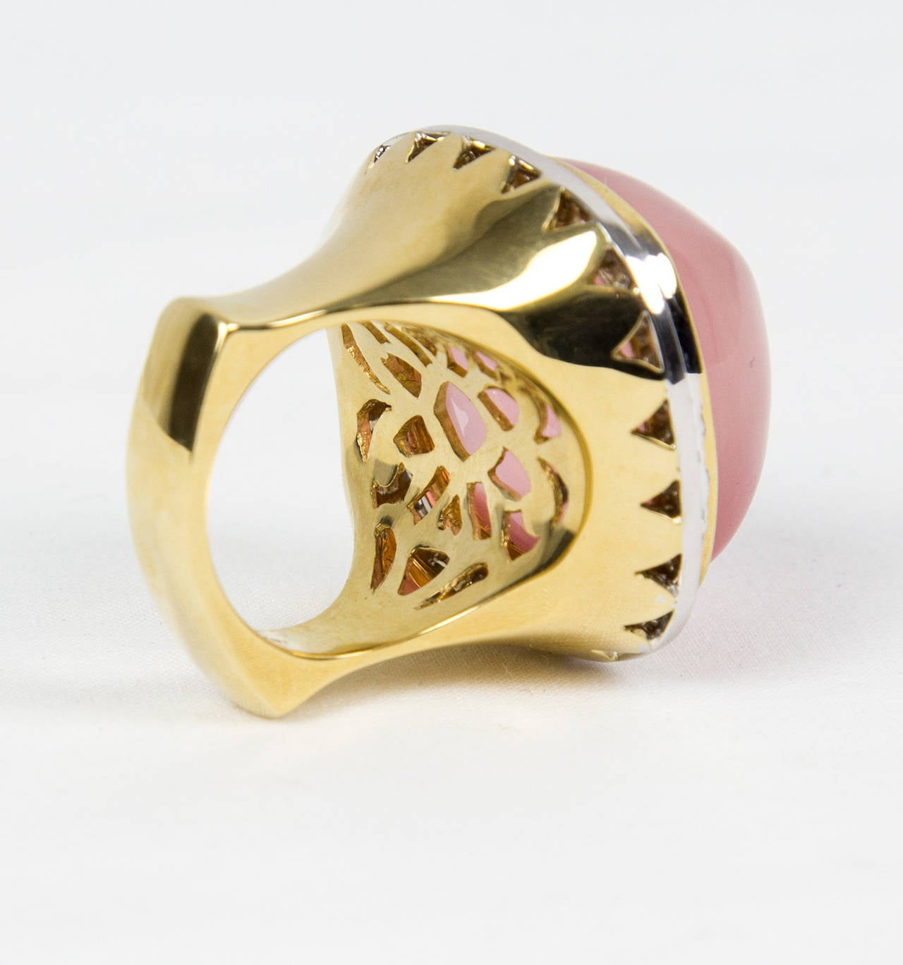 Pink Quartz Sugarloaf Diamond Gold Ring 7