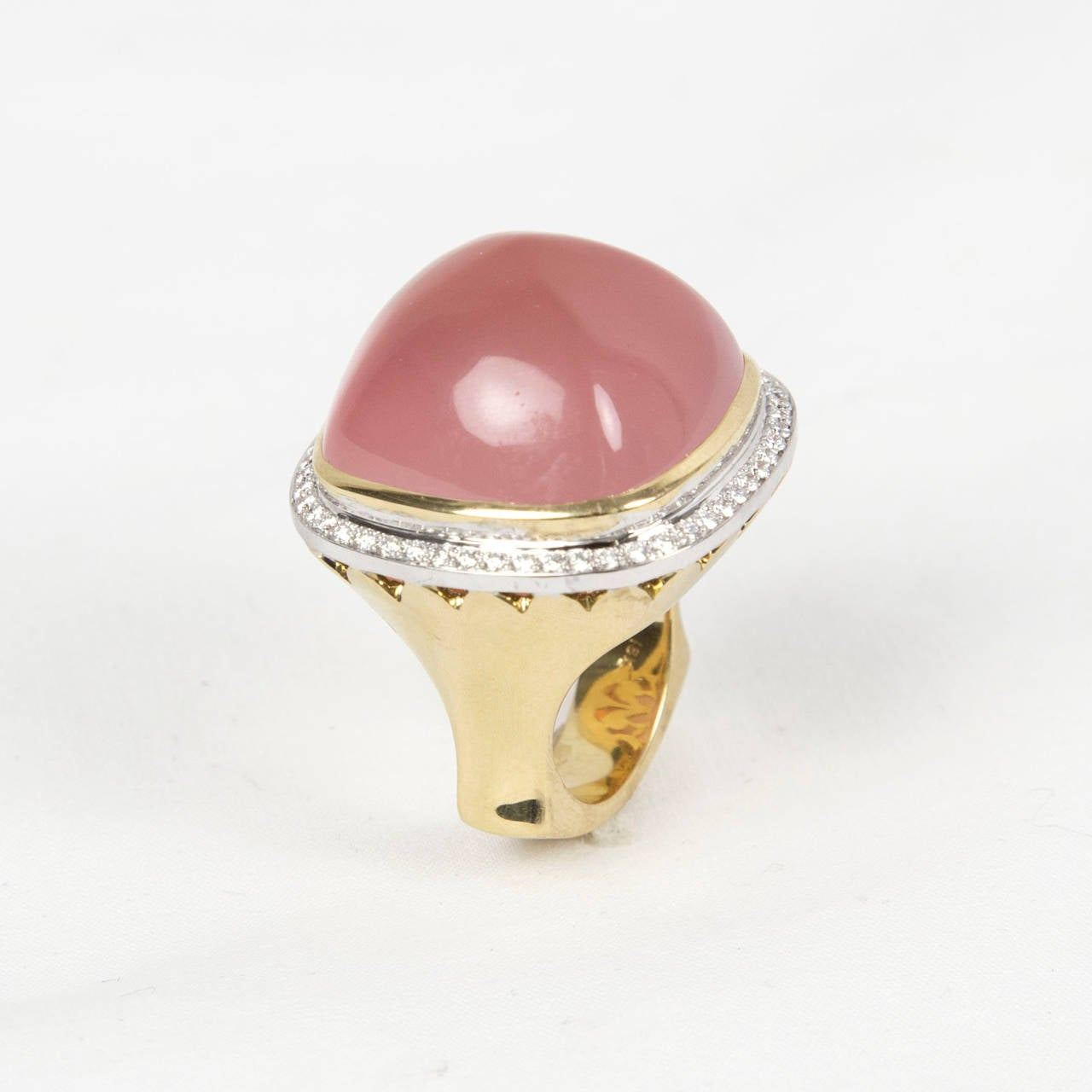Pink Quartz Sugarloaf Diamond Gold Ring 4