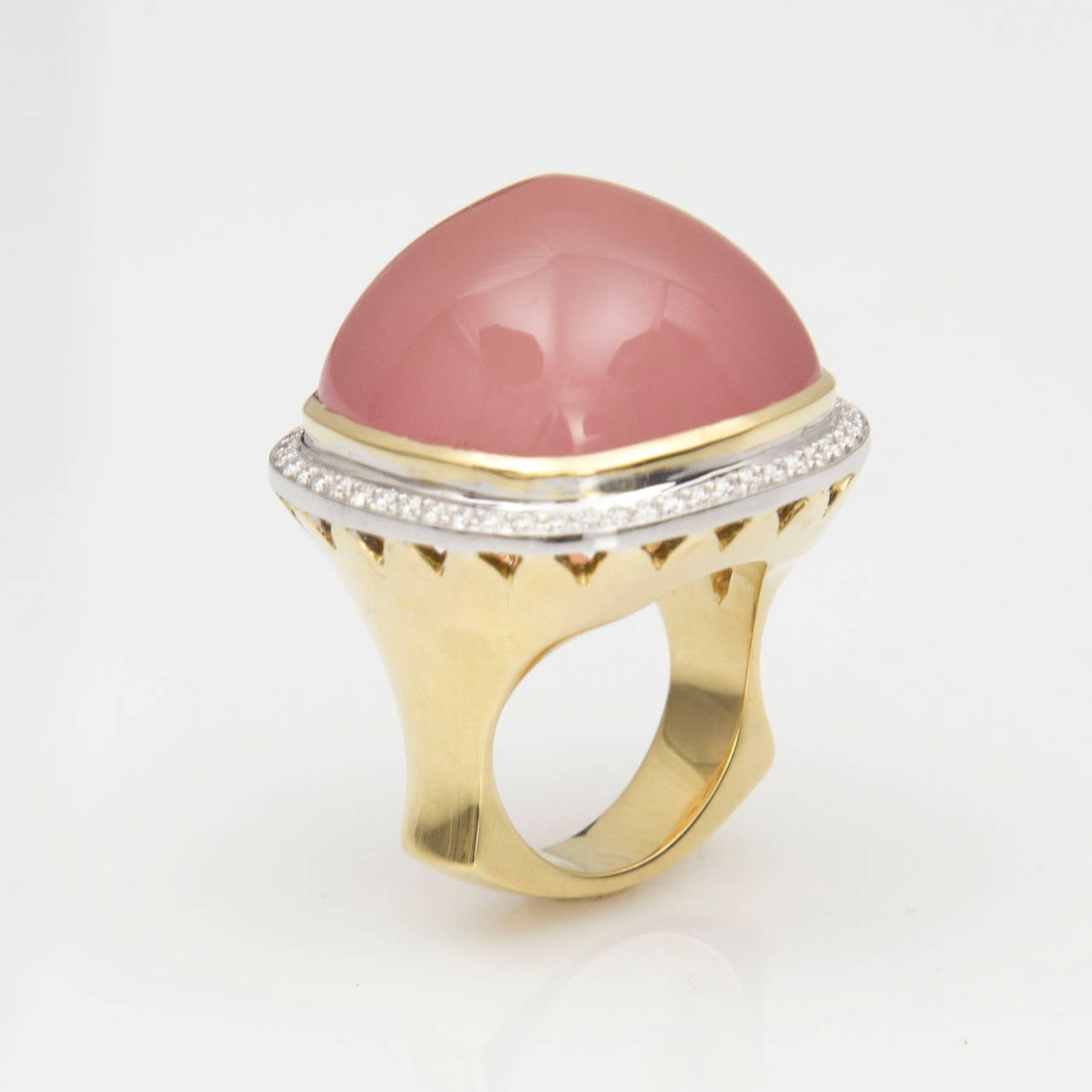 Pink Quartz Sugarloaf Diamond Gold Ring 6