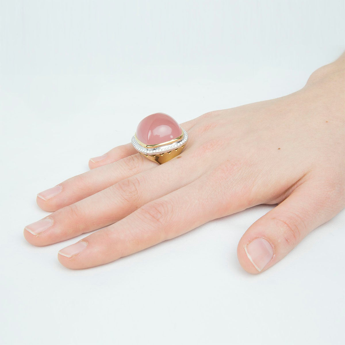 Pink Quartz Sugarloaf Diamond Gold Ring 3