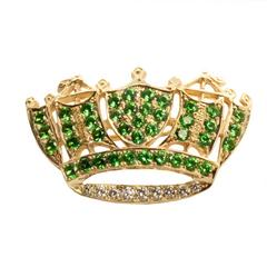 Tsavorite Garnet and Diamond Crown Brooch Pin