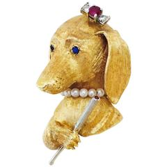 Whimsical Jeweled Smoking Lady Dachshund Dog Brooch Pin
