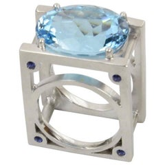 23.62 Carat Sky Blue Topaz and Sapphire Statement Ring Estate Fine Jewelry