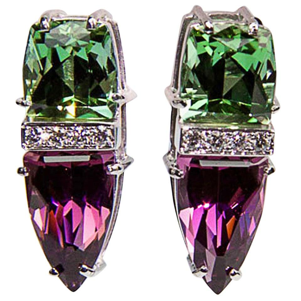 Trillion Cut Garnet Tourmaline Diamond Gold Runway Earrings