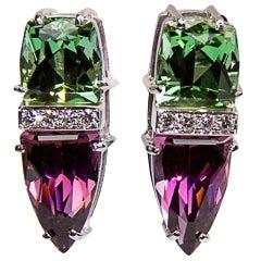 Trillion Cut Garnet Tourmaline Diamond Gold Earrings Estate Fine Jewelry