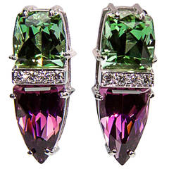Trillion Cut Garnet Tourmaline Diamond Gold Earrings