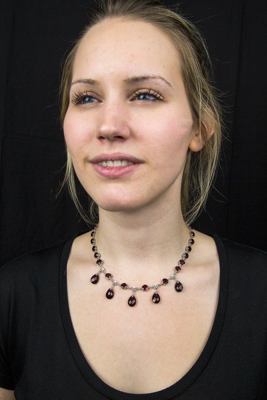 Modernist Garnet Diamond Gold Fringe Necklace 5