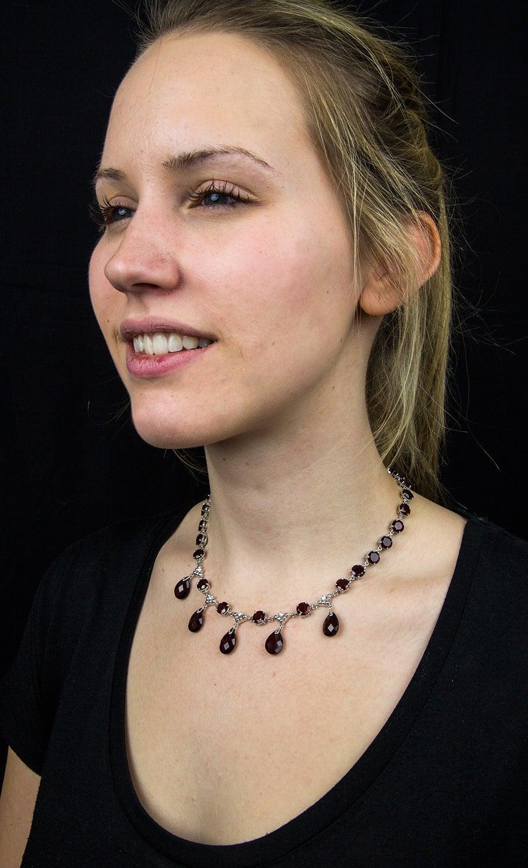 Modernist Garnet Diamond Gold Fringe Necklace 6