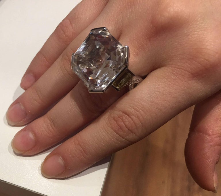 47.40 Carat Asscher Cut White Topaz Diamond Gold Ring 6
