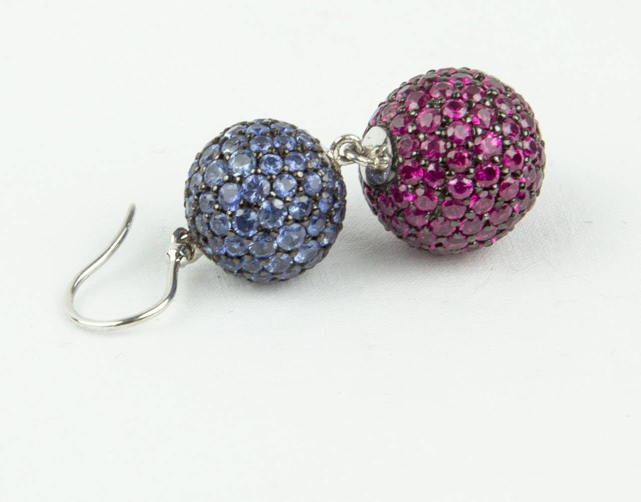 Pavé Ruby Blue Sapphire Gold Ball Drop Earrings 2