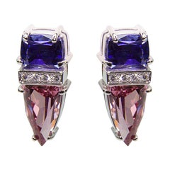Spinel and Tanzanite Diamond Gold Stud Earrings